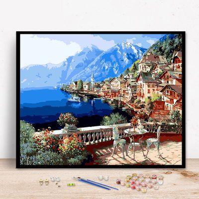 热卖DIY数字油画风景建筑客厅现代简约情侣大幅手绘装饰画梦幻别