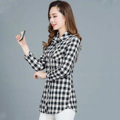 纯棉春秋方格衬衫春季黑白格子外套女士休闲长袖衬衣宽松上衣