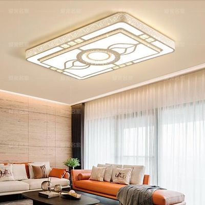 水晶LED吸顶灯长方形客厅现代大气卧室灯温馨创意房间灯具太阳花