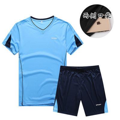 爆款运动套装男装大码夏季短袖五分裤跑步健身速干运动服T恤篮球