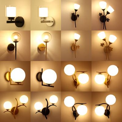 美式壁灯卧室床头灯led北欧个性客厅灯简约现代楼梯间过道阳台灯