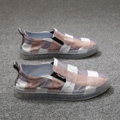 一脚蹬方格布鞋透气防臭懒人休闲鞋子果冻鞋软底布鞋乐福鞋潮夏季