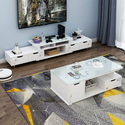 电视柜 客厅小户型钢化玻璃电视柜茶几组合家具 家用简易电视柜子