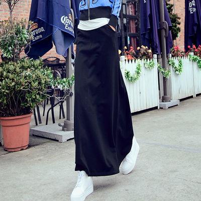 2020夏季新款a字裙半身裙中长款高腰黑色长款长裙春秋大码裙子女