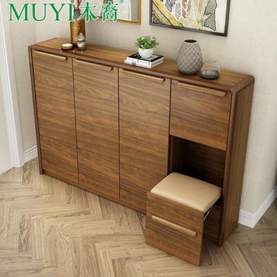 鞋柜简约玄关柜超薄鞋凳容量凳实木翻斗储物柜量实大容量北欧功能