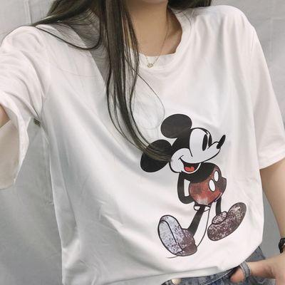 2020年夏季新款纯棉短袖女T恤韩版显瘦经典卡通印花圆领宽松款CC