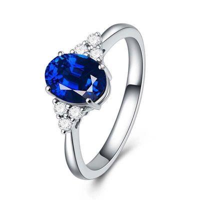 姐姐同款蓝色宝石纯银戒指 乘风破浪可爱戒指 坦桑石戒指盒
