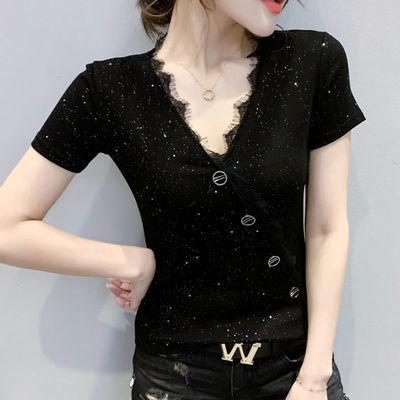 短袖黑色t恤女装修身金属扣设计感显瘦潮欧洲站潮洋气内搭打底衫