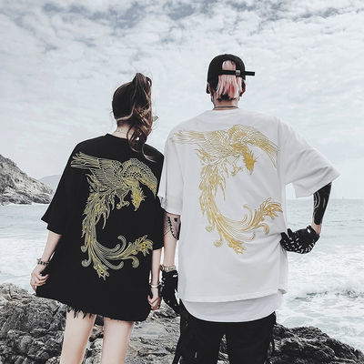 国潮风刺绣凤凰嘻哈男女宽松oversize半袖同色系情侣装短袖T恤夏
