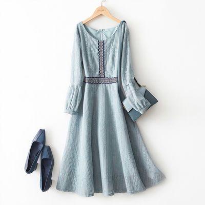 海谧灯笼袖收腰连衣裙女2020年春季新品女款女气质蕾丝连衣裙