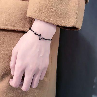 情侣W手链 韩国简约甜美学生清新心跳手链女男日韩个性心电图手环