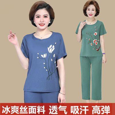 【衣服+裤子】妈装夏装两件套装新款中老年女短袖t恤洋气大码上衣