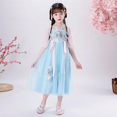 39011/女童汉服连衣裙春夏装雪纺裙小女孩复古中国风超仙襦裙儿童公主裙