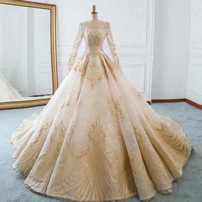 欧美主婚纱礼服2020新款香槟色新娘婚纱宫廷公主显瘦大码拖尾梦幻