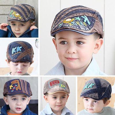 儿童贝雷帽春秋男童帅气潮帽2-8岁宝宝英伦刺绣鸭舌帽牛仔帽子夏