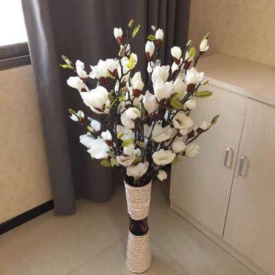 仿真玉兰花假花绢花客厅落地插花摆件大枝玉兰干花影视道具