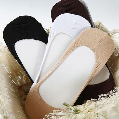 高档5双装大码船袜女39-42硅胶防滑加肥加大豆豆鞋棉浅口隐形