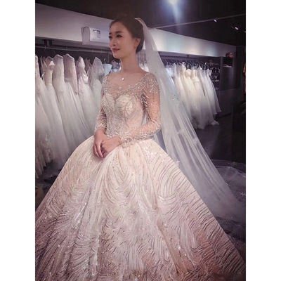 法式星空主婚纱赫本礼服女2020新款春季新娘拖尾复古显瘦奢华梦幻