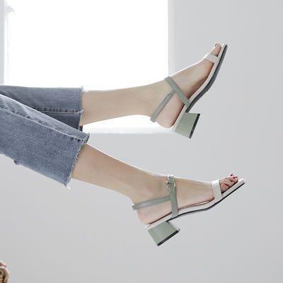 粗跟搭配裙子的时装凉鞋女2020年夏季新款仙女风中跟小ck百搭网红