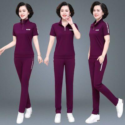 妈妈夏装薄款中老年人时尚运动套装短袖长裤中年妇女休闲两件套