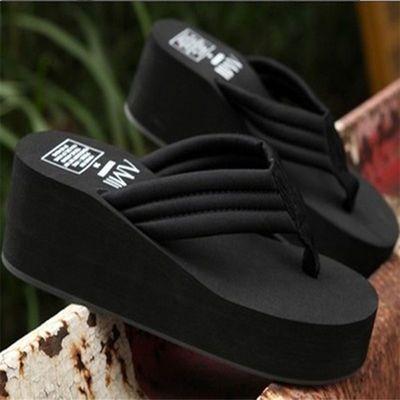 新款韩版凉拖鞋女夏坡跟松糕鞋人字拖女外穿时尚学生凉鞋高跟女士