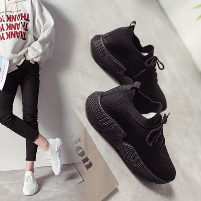 2020春夏季新款全黑色休闲鞋女鞋子运动鞋透气韩版百搭学生袜子鞋
