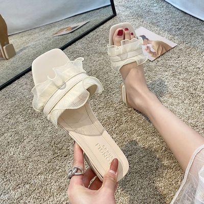 拖鞋女夏外穿2020夏季新款荷叶边百搭低跟露趾仙女风一字拖凉拖鞋