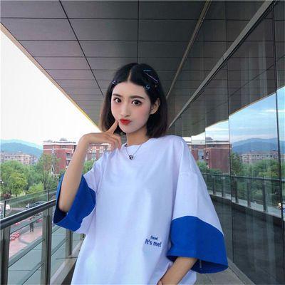 短袖t恤女中袖七分袖中学生宽松拼色闺蜜网红同款上衣夏装新韩版