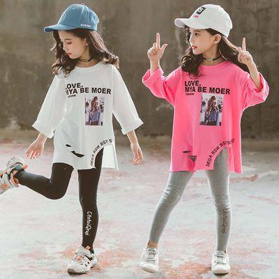 女童装长袖上衣秋季中大童洋气宽松长袖t恤儿童中长款破洞打底衫