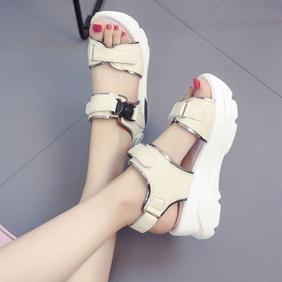 2020新款夏季鞋子女学生凉鞋女高跟鞋女韩版厚底凉鞋松糕底学院风