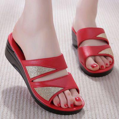 坡跟拖鞋女士厚底防滑潮流时尚网红款高跟凉拖鞋女夏外穿社会百搭