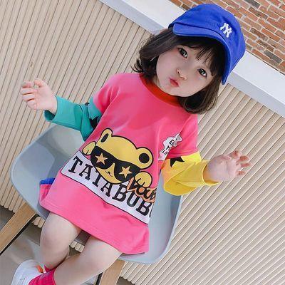 女童春装T恤上衣2020洋气韩版儿童中长款t恤女宝宝长袖时髦连衣裙