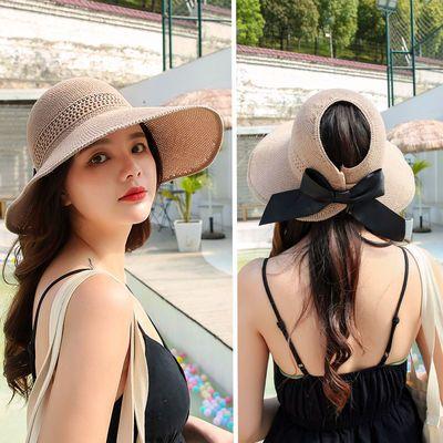 空顶帽女草帽女夏沙滩帽遮阳帽女防紫外线大帽檐防晒可折叠太阳帽