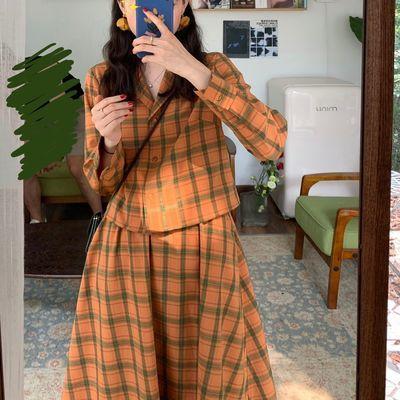 复古格子套装两件套女2020春装新款韩版学生休闲时尚橙色套装裙潮