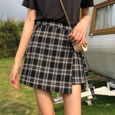 格子半身裙夏季新款黑白格子裙女高腰休闲韩版a字裙短裙裤裙学生
