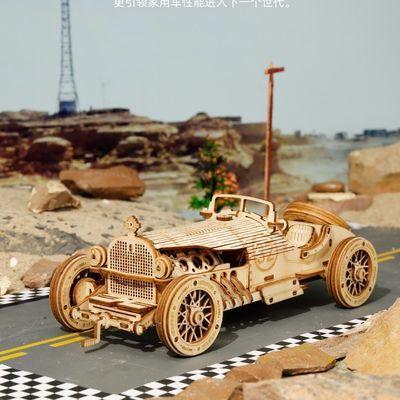 若态木质3d拼图战地吉普车火车成人diy手工拼装模型高难度玩具男