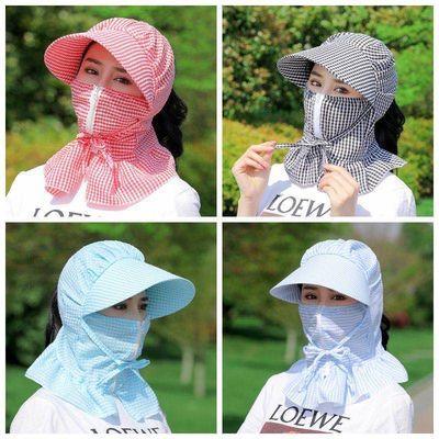 防晒帽子女遮脸夏天干活采茶叶防紫外线遮阳骑车遮脸扎马尾太阳帽