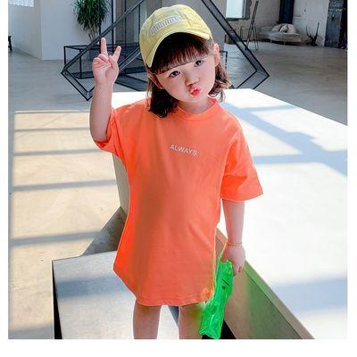 童装女童夏季短袖新款韩版洋气儿童T恤宝宝休闲中长款上衣打底衫