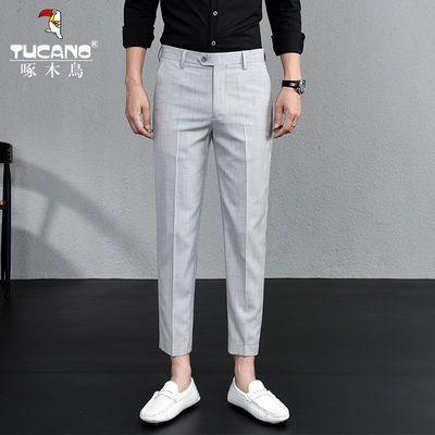 啄木鸟九分裤男修身小直筒休闲小西裤裤男式青年薄款9分西装裤子