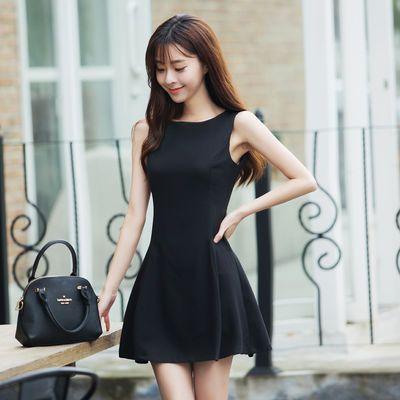 黑色收腰显瘦小个子洋气连衣裙2020新款夏季女装a字裙遮肚短裙子