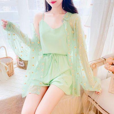 小雏菊刺绣网纱防晒外套三件套女2020春夏季新款雪纺吊带短裤套装