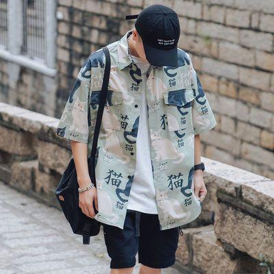 夏季短袖衬衫男士新款青春潮流工装学院风百搭休闲薄款衬衣男半袖