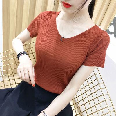 女装2019新款夏季韩版潮打底针织衫女上衣学生短袖v领修身薄款t恤
