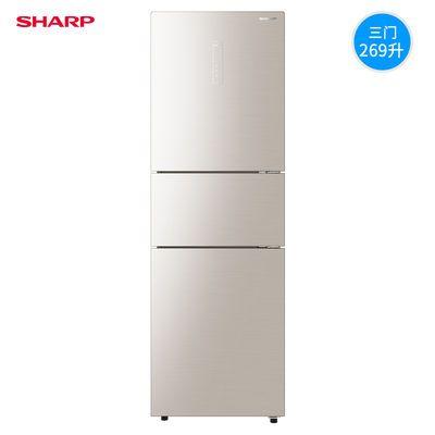夏普 269升变频风冷无霜一级能效彩晶三门家用冰箱 BCD-269WVCE-N