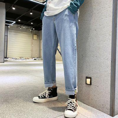 新品男裤ins老爹裤 男装潮流微商货源九分阔腿牛仔裤男宽脚长裤子