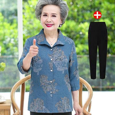 10774/中老年人女装夏装衬衣奶奶七分袖60岁80老人妈妈夏季衬衫太太上衣