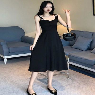 大码女装2020夏季新款显瘦复古收腰遮肚子赫本风胖mm吊带连衣裙