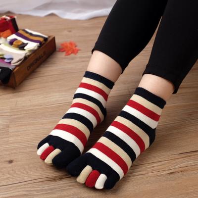 可爱全棉女款春夏纯棉五指袜 女士纯棉五趾袜子透气中短筒女袜子