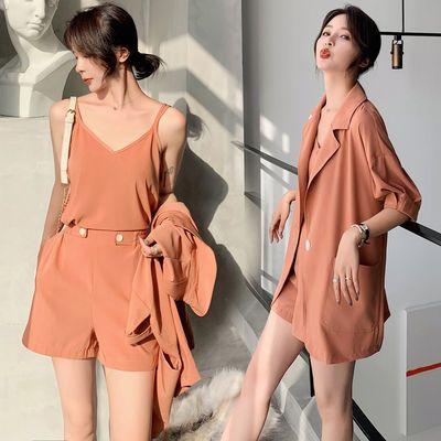 单/两/三件套2020新款西装女夏薄款韩版复古港风宽松西服短裤ins