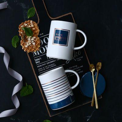 北欧风马克杯带盖勺陶瓷杯学生喝水杯男女情侣家用杯子办公咖啡杯